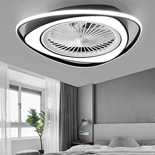 LED Deckenventilator 38W Unsichtbares Fan Modern Fan Deckenleuchte Licht Einstellbar Mit Beleuchtung Schlafzimmer Deckenlampe Dimmbar Wohnzimmer Leuchte Mit Fernbedienung Leise Ventilator Kinderzimmer