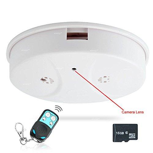 WISEUP 16GB 1920x1080P HD Mini Spion Kamera Rauchmelder Haus Überwachungskamera mit Bewegungsmelder und Fernbedienung