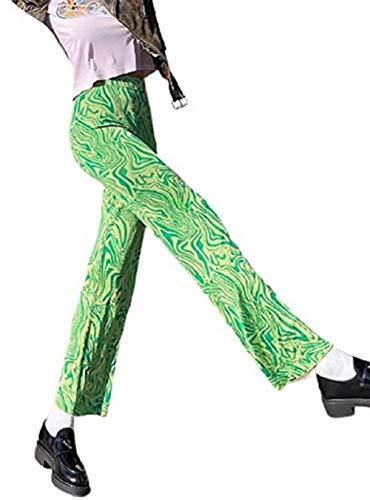 GuliriFe Y2K - Pantalones acampanados para mujer, estilo vintage con estampado de tie-dye verde S