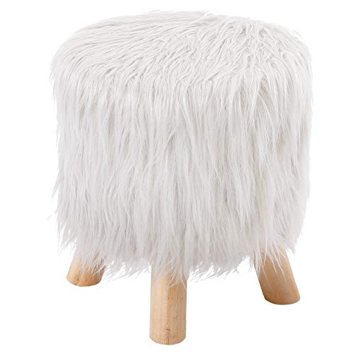 BirdRock Home White Faux Fur Foot Stool Ottoman – Soft Compact Padded Seat - Living Room, Bedroom and Kids Room Chair – Natural Wood Legs - Upholstered Decorative Furniture Rest – Vanity Seat