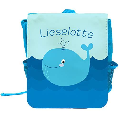 Kinder-Rucksack mit Namen Lieselotte und schönem Motiv mit Blau-Wal für Mädchen