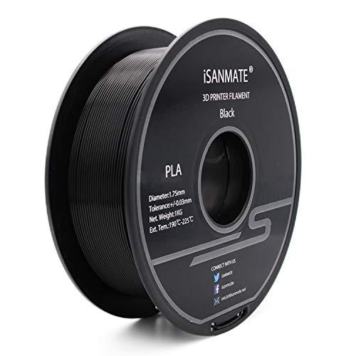 iSANMATE 3D Printer Filament PLA Dimensional Accuracy +/-0.03mm,1kg (2.2lb) Spool, 1.75mm, Black for 3D Printer and 3D Pen