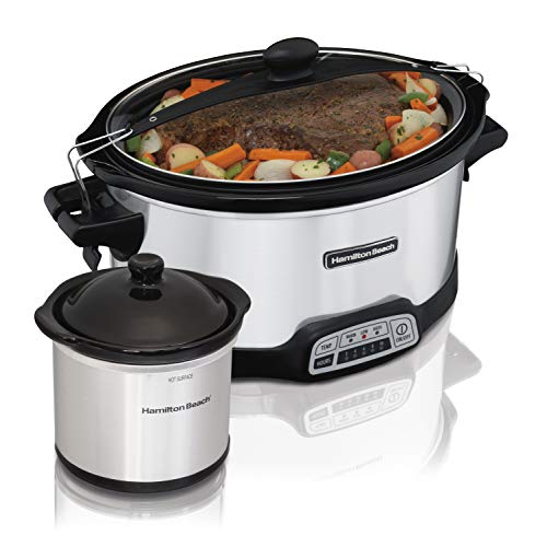 Cheap Beach 7 Quart Stay or Go Programmable Slow Cooker with Party Dipper, Stainless Steel
