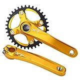 Gancon Bielas de Bicicleta de montaña Piñón de una Sola Velocidad Integral Aleación de Aluminio(Oro)