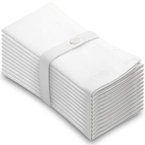 Aunti Em's Kitchen White Cotton Napkins Cloth 20 x 20 Oversized 100% Natural Bulk Linens for Dinner, Events, Weddings, Set of 12