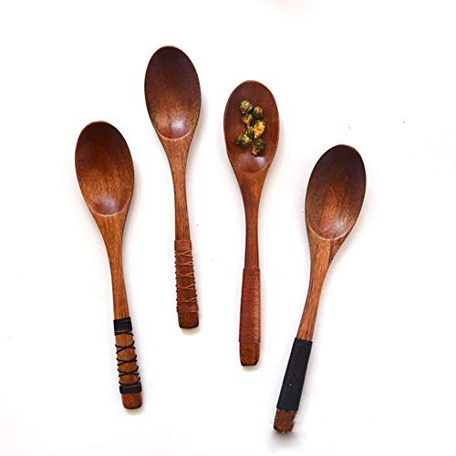 4Pcs Handmade Japanese Style Wooden Kids Soup Spoons Natural Wood Rice Serving Tableware Flatware Set with Tied Line on Handle (7 3/4 inches 19.5cm) for Mixing and Cooking