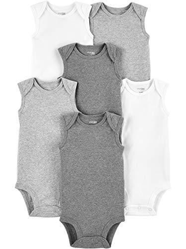 Simple Joys by Carter's 6-Pack Sleeveless Bodysuit Hemd, Weiß/Light Heather Grey/Medium Heather Grey, 6-9 Monate