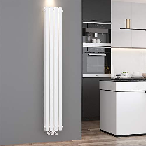 ELEGANT Design Paneelheizkörper Röhren 1600 x 236 mm Weiß Doppellagig Badheizkörper Mittelanschluss Vertikal Röhren Heizkörper