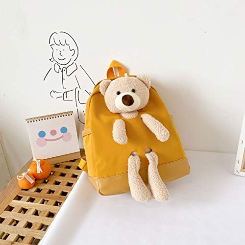 COMPY Cute Bear Small Backpacks, Boys and Girls, Children's Bags, Primary School Students, Plush School Bags,Yellow