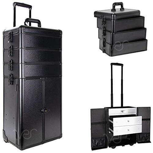 SunRise Professional Rolling Makeup Train Case, Heavy Duty Hair Stylist & Makeup Artist Travel Case, Black Matte, I3366PPAB