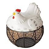 AniU - Cestino porta uova in ferro battuto, in ceramica, decorazione da cucina, 20 x 12 cm