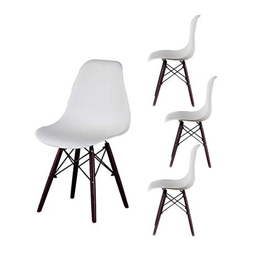 MUEBLES HOME - Juego de 4 sillas de comedor modernas de mediados de siglo con patas de madera de nogal, asiento lateral de plástico para cocina, sala de estar y comedor, color blanco