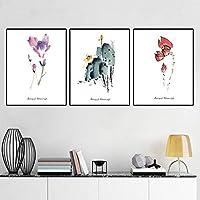 """チャイニーズスタイルの花のキャンバスの絵画の美しさレトロな新鮮な植物のポスター寝室のポーチのリビングルームの壁の家の装飾50x70cm / 19.7""""x27.6"""" X3 フレームなし"""