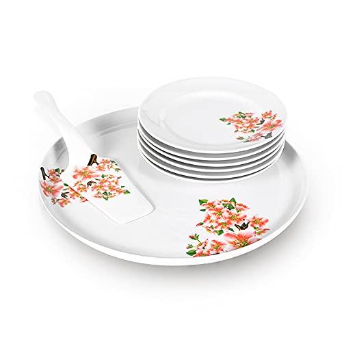 Juego de vajilla de porcelana, 8 piezas, para pizza de 30 cm de diámetro, 6 platos de desayuno y 1 paleta para tartas (flor de manzana)