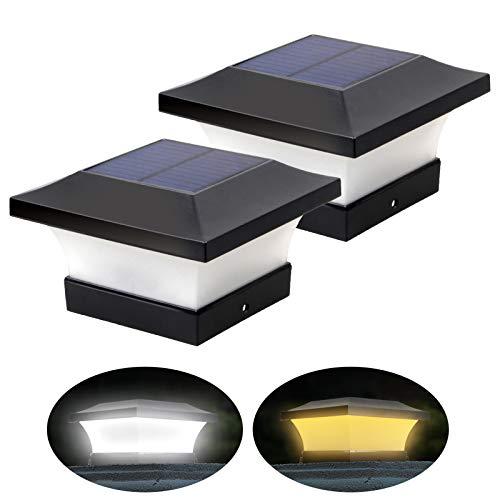 2 Beleuchtungsfarben Einstellbare Solar LED Pfostenleuchten Wasserdichte Garten Außenpfosten Kappenlampe für 10x10 cm Holzpfosten, Deck, Zaun (Tageslichtweiß 6000K und Warmweiß 3000k, 2 Stück)