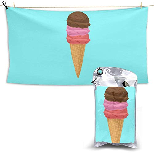 XCNGG Quick Dry Bath Towel, Absorbent Soft Beach Towels, Ice Cream Cone for Camping, Backpacking, Gym, Travelling, Swimming,Yoga 28.7'' X 51''