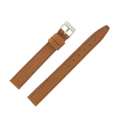 OnWatch - Correa de reloj de 14 mm, color marrón dorado, extra larga de piel, fabricación artesanal