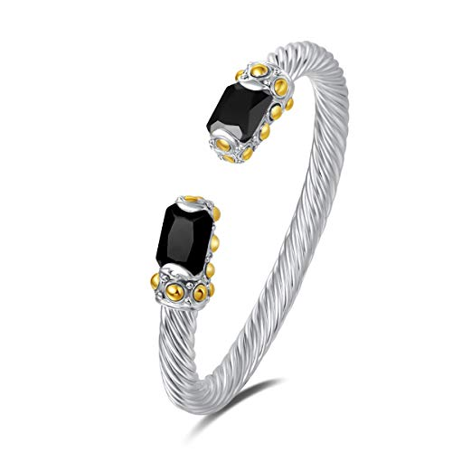 UNY Designer Inspired Jewelry Radiant CZ Cable Wire Antique Bangle Elegant Beautiful (Black)