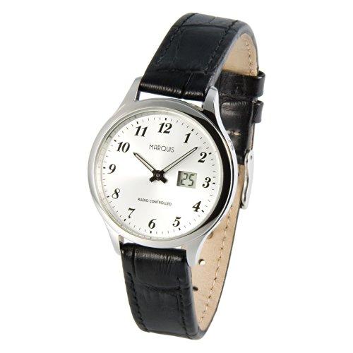 MARQUIS Damen Funkuhr, Schwarzes Lederarmband, Edelstahlgehäuse, deutsches Funkwerk, Armbanduhr 983.4707