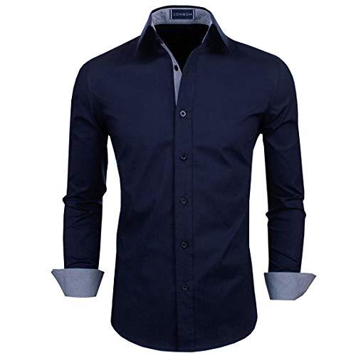 Zombom Men's Cotton Regular Fit Casual Shirt Navy Blue