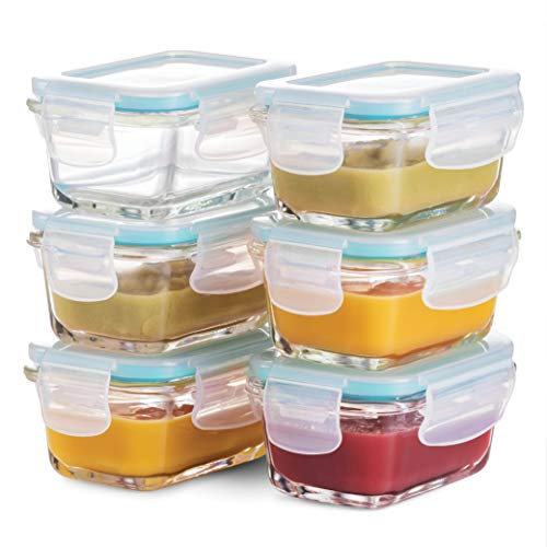 Superior Glass Baby Food Storage Containers 150ml(6-Pack) Airtight BPA-Free Locking Lids - Baby Glass...