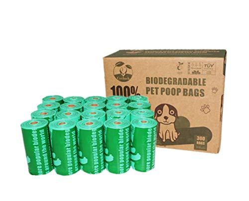 Cycluck 100{1ff395ba56fdad927ebbb8fa076cc4ae610ad46823dc3ed5647fb716a1933cf8} Biodegradables Bolsas de Basura Perros Extra Gruesa con Certificación Europea EN13432 Home Compost, Hecho de Almidón de Maíz (300 Bolsas, Verde)