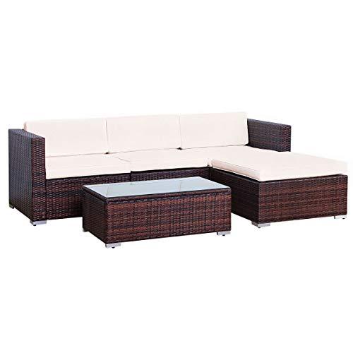 EVRE Rattan Outdoor Garden Furniture Set 4 Seater California Sofa Set with Coffee Table (Brown)