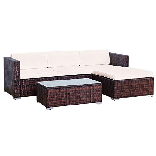 EVRE Rattan Outdoor Garden Furniture Set 4 Seater California Sofa Set with Coffee Table (Brown)
