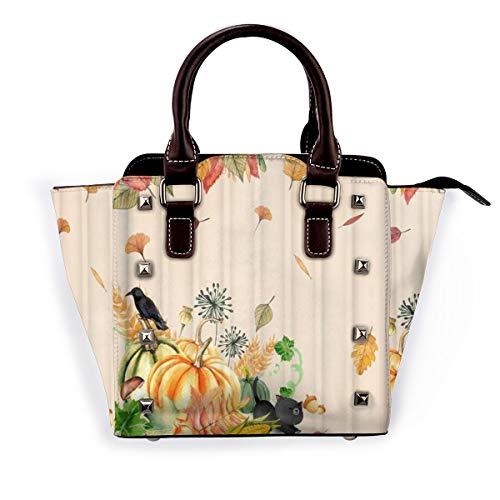 BROWCIN Aquarellkürbisse mit niedlichen Katzen- und Vogel-fallenden Ahornblättern Thanksgiving-Herbstdesign Abnehmbare mode trend damen handtasche umhängetasche umhängetasche