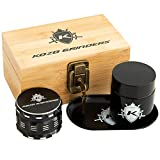Kozo Wood Stash Box Combo Kit with Aluminium 2.5' Herb Grinder, Rolling Tray, Locking Smell Proof Jar with...