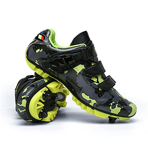 Zapatillas Ciclismo Mtb Hombre Mujer, Zapatos de Bicicleta de Montaña con Zapatillas de Deporte Spd de Carretera con Bloqueo Automático Zapatos de Giro Zapatos de Bicicleta de Moda Luminosa,Green-37