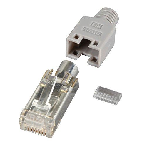 BIGtec 25 x RJ45 Stecker TM11 Hirose CAT.5 grau Crimpstecker RJ-45 Modular Plug Ethernet LAN Kabel Steckverbinder Netzwerkstecker geschirmt CAT5 CAT5e