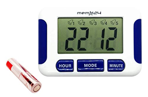 Memo24 Multiple Alarm Medication Pill Reminder Five 5 Daily Alarms Battery Included Compact Size Hang/Stand/Stick