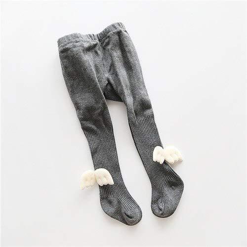 DFGSDFB Lawadka Leggings für Mädchen, Winter, Engelsflügel, Kinderleggins, Baumwolle, gestrickt, solide, Leggings, Babysocke, XL, 6to8T, dunkelgraue Flügel