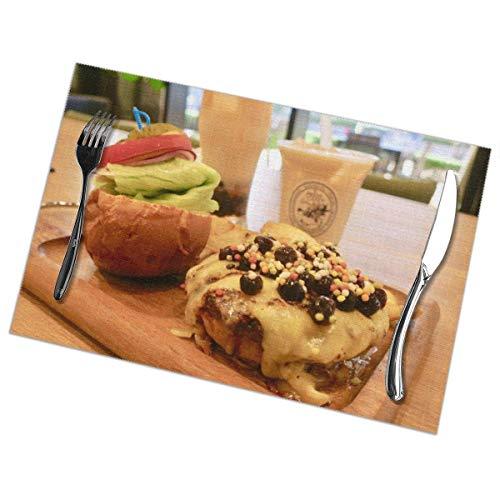 No license Burger Bubble Tea Milk Tea Set Tischsets für den Esstisch 6er-Set Küchenfleckenresistent Anti-Rutsch-Waschtisch Hitzebeständige rutschfeste Tischsets Dekoration