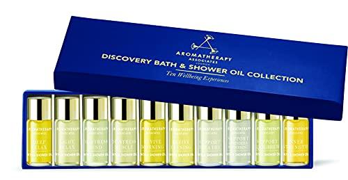 Aromatherapy Associates Discovery Wellbeing Collection cadeau miniature d'huiles de bain et de douche de 10, 3 ml d'huiles de bain et de douche thérapeutiques sélectionnées à la main et infusées d'huiles essentielles. Le cadeau ultime.