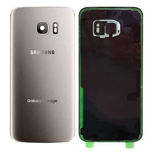 MovTEK Tapa Trasera Bateria de Cristal Trasero Original para Samsung Galaxy S7 Edge G935F con Lente de Cámara Plata