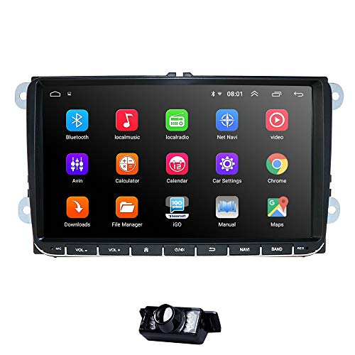 Wifi 9 Inch Android 7.1 Double 2 Din Car Stereo Video Receiver Radio GPS Navi for VW Golf Polo Passat Tiguan Jetta EOS+North America Map+Camera Capacitive Screen