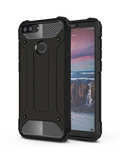 Cover Huawei Honor 9 Lite,SMTR Dual Layer Custodia ibrida Rigida Morbido Armatura Sottile per Huawei Honor 9 Lite ,Nero