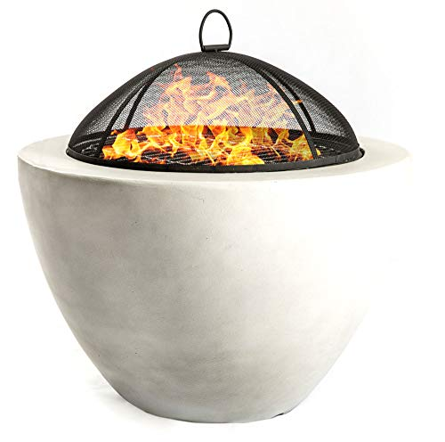 Homeology DIABLO Contemporary Garden & Patio Heater Fire Pit Brazier and Barbecue with Concrete Eco-Stone Finish