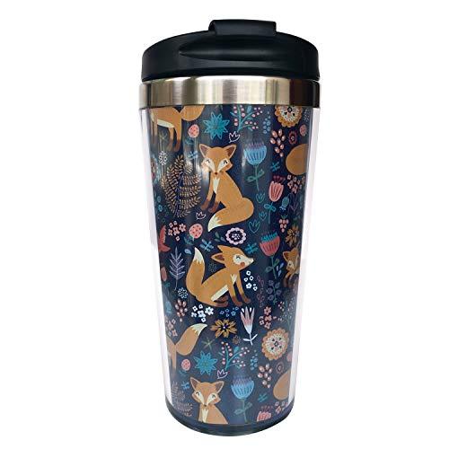 NVJUI JUFOPL Fox Flower Travel Coffee Mug for Men Women, With Flip Lid, Stainless Steel, Water Bottle Cup 15 oz
