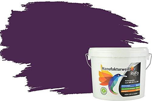 RyFo Colors Bunte Wandfarbe Manufakturweiß Dunkelviolett 3l - weitere Violett Farbtöne und Größen erhältlich, Deckkraft Klasse 1, Nassabrieb Klasse 1