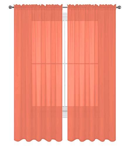 "Decotex 2 Piece Solid Elegant Sheer Curtains Fully Stitched Panels Window Treatment Drape (54"" X 84"", Salmon)"
