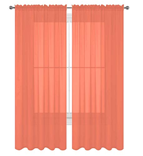 """Luxury Discounts 2 PC Solid Rod Pocket Sheer Window Curtain Treatment Drape Voile Panels in Variety of Colors (55""""x84"""", Salmon)"""