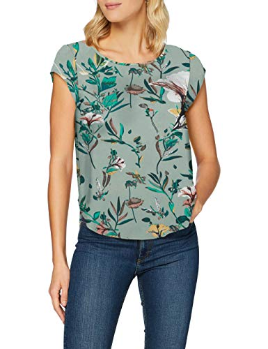 Only ONLVIC SS Top Noos Wvn T-Shirt, AOP: di da Flower Granite Green, 34 Donna