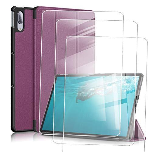 JIENI Funda Lenovo Tab M10 HD (10.1) X306X Funda para Tablet PC (Segunda generación), con función de Reposo y activación/Reposo + 3 película de Vidrio Templado -púrpura