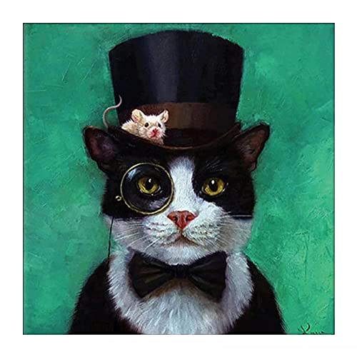 5D Diamond Painting Adulto/niño sombrero de animal gato,DIY Kit de Pintura de Diamante Completo Bordado punto de cruz Cristal Rhinestone Lienzo Artesanía decor de la pared del hogar 30x30cm(12x12in)