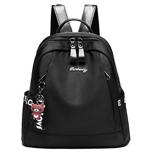 FiveloveTwo Damen Mädchen Oxford-Tuch Rucksackhandtaschen Shopper Schultertasche Umhängetasche Rucksäcke Handtasche Reise Taschen Backpacks Schwarz