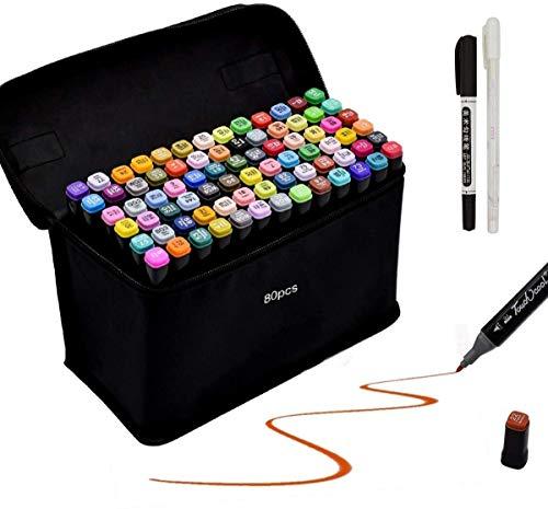 Renquen 80 farbige Stifte fettige Marker Set Stifte für Skizze Marker Pen Set für Studenten Manga DIY Fotoalbum Gästebuch Holz Hochzeit schwarz Papier Handlettering 15,5 cm