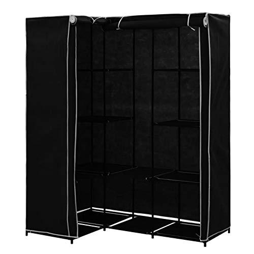SOULONG Armario de tela de esquina para almacenamiento, organizador de almacenamiento de ropa de pie en forma de L con rieles, armario plegable para dormitorio para ropa